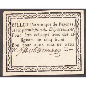 France, Billet de deux sols et demi, Billet Patriotique de Pezenas, TTB