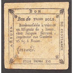 France, Bon de confiance, Bon de 3 Sols, TB+