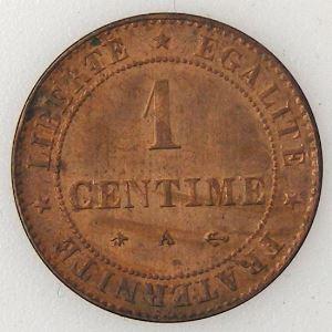 France, Cérès, 1 Centime 1878 A, TTB/TTB+, KM# 826.1 .