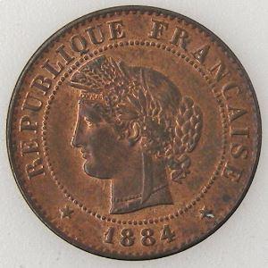 France, Cérès, 1 Centime 1884 A, TTB+/SUP, KM# 826.1