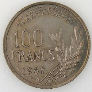 France, Cochet, 100 Francs 1958, TTB, KM#919.1