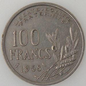 France, Cochet, 100 Francs 1958 Chouette, TTB, KM#919.1