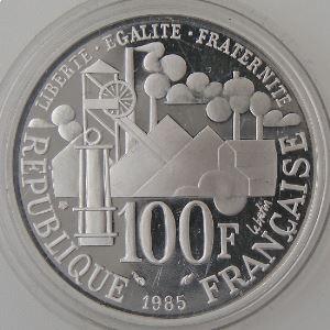France, Emile Zola,100 Francs 1985, BE, Argent, KM# 957