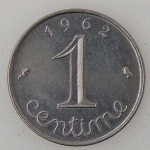 France, Epi, 1 Centime 1962 Rebord, TTB+, KM# 928