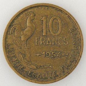 France, Guiraud, 10 Francs 1954, TB+, KM#915.2