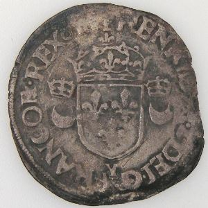 France, Henri II, Douzain aux croissants 1551 Y, TB+, Dup:997