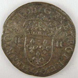France, Henri III, 1/4 Ecu 1587 G, TTB+/SUP, Dup:1133a