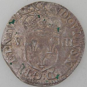 France, Louis XIII, 1/8 Ecu 1642 Arras rat, Gad: 24, TB+