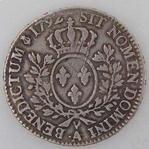 France, Louis XVI,  1/2 Ecu 1792 .A, Gad: 355, TB
