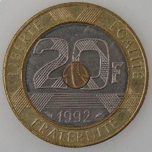 France, Mont Saint-Michel, 20 Francs 1992, SUP, KM#1008.1