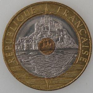 France, Mont Saint-Michel, 20 Francs 1994 Abeille, SUP+, KM#1008.2
