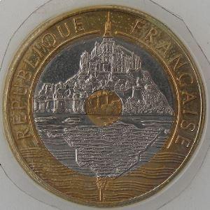 France, Mont Saint-Michel, 20 Francs 1998, SUP+, KM#1008.2
