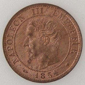 France, Napoléon III, 1 Centime 1854 MA, SUP/FDC, KM# 775.6.