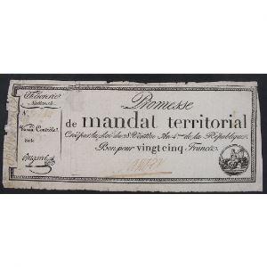 France, Promesse de mandat territorial, Bon de 25 Francs, TB