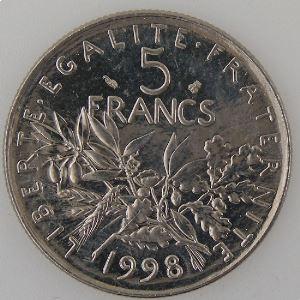 France , 5 Francs 1998, SPL, KM#926a.1
