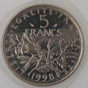 France , 5 Francs 1998, SPL++, KM#926a.1