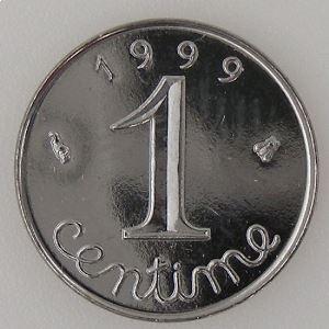 France, 1 Centime 1999, SPL++, KM# 928