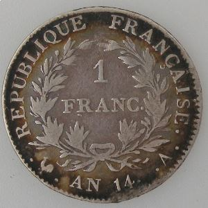 France, 1 Franc l'An 14 A, TB, KM#656.1