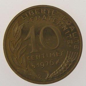 France, 10 Centimes 1976 Piéfort bronze Aluminium, SUP/SPL, KM# P545
