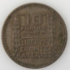 France, 10 Francs 1945 Rameaux courts, TTB, KM#908.1