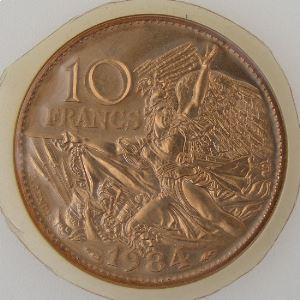 France, 10 Francs 1984 , FDC, KM# 954