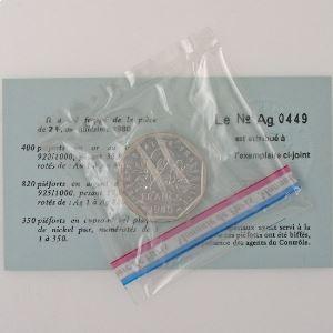 France, 2 Francs 1980 Piéfort Argent, FDC, KM# P672