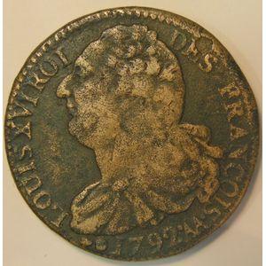 France, 2 Sols 1792 .AA. Metz, TB+, Gad:25