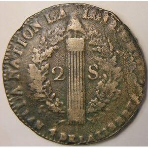 France, 2 Sols 1792 W Arras, TB, Gad:25
