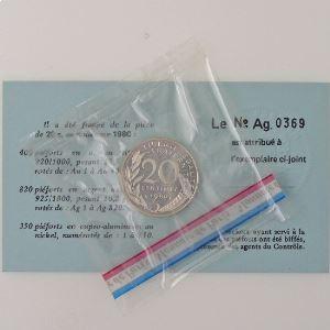 France, 20 Centimes 1980 Piéfort Argent, FDC, KM# P663