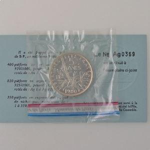 France, 5 Francs 1980 Piéfort Argent, FDC, KM# P675