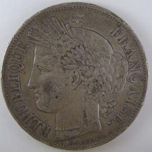 France, Cérès, 5 Francs 1849 A, TTB, KM# 761.1