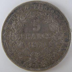 France, Cérès, 5 Francs 1850 A, TTB, KM# 761.1
