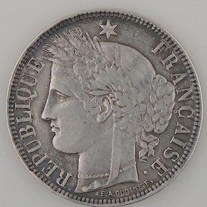 France, Cérès, 5 Francs 1871 K, TB+, KM# 818.2