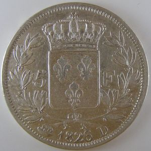 France, Charles X, 5 Francs 1826 D, TTB, KM# 720.4