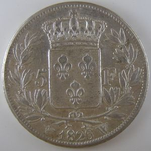 France, Charles X, 5 Francs 1826 W, TTB, KM# 720.13