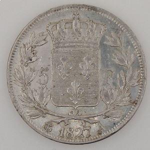 France, Charles X, 5 Francs 1827 A, TTB+/SUP, KM# 728.1