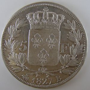 France, Charles X, 5 Francs 1827 B, TTB/TTB+, KM# 728.2