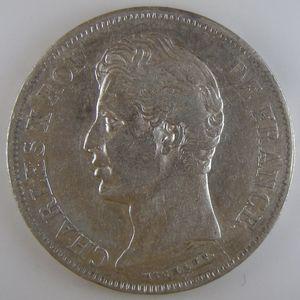 France, Charles X, 5 Francs 1827 W, TTB, KM# 728.13