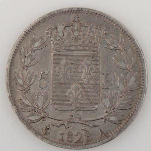 France, Charles X, 5 Francs 1828 A, TB+, KM# 728.1