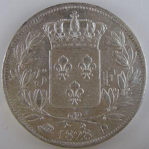 France, Charles X, 5 Francs 1828 D, TTB/TTB+, KM# 728.4