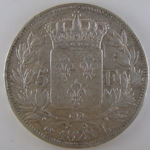 France, Charles X, 5 Francs 1828 L, TTB, KM# 728.8