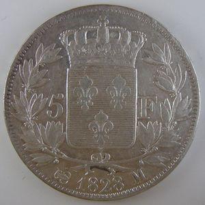 France, Charles X, 5 Francs 1828 M, TTB, KM# 728.9