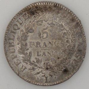 France, Directoire, 5 Francs l'An 7 L, TTB+, KM#639.6