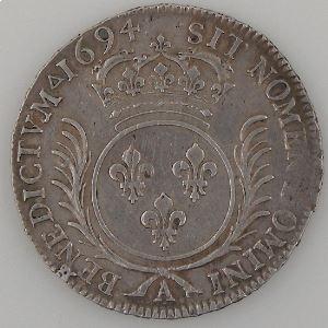 France, Ecu aux Palmes 1694 A, TTB/TTB+, Gad: 353