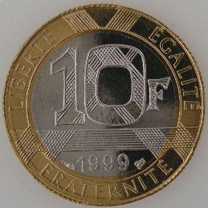France, Génie de la Bastille, 10 Francs 1999, SPL++, KM# 964.1