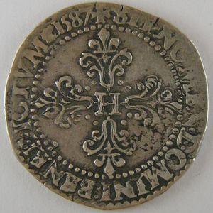 France, Henri III, 1/2 Franc 1587 A, TTB, Dup:1131a