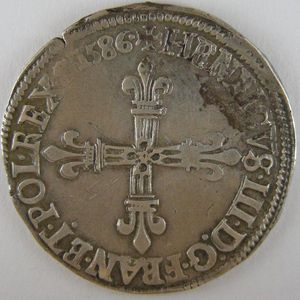 France, Henri III, 1/4 Ecu 1586 C, TTB/TTB+, Dup:1133