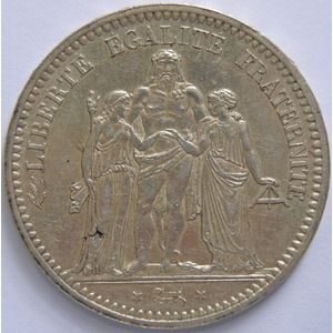 France, Hercule, 5 Francs 1870 A, TTB/TTB+, KM# 820.1