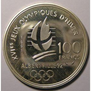 France, Hockey sur glace, 100 Francs 1991 SPL, KM# 993