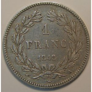 France, Louis-Philippe I, 1 Franc 1848 A Paris, TB+/TTB, KM# 748.1